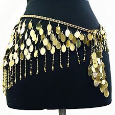 Belly Dance Lace Shiny Sequin Hip Scarf Belt Wrap -- Black/gold