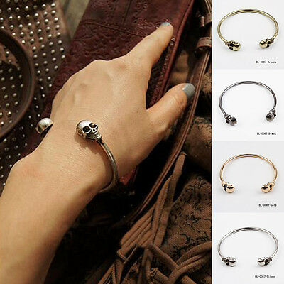 1PCS Chic New Alloy Skull Punk Open Charms Gothic Rock Hand Cuff Bangle Bracelet