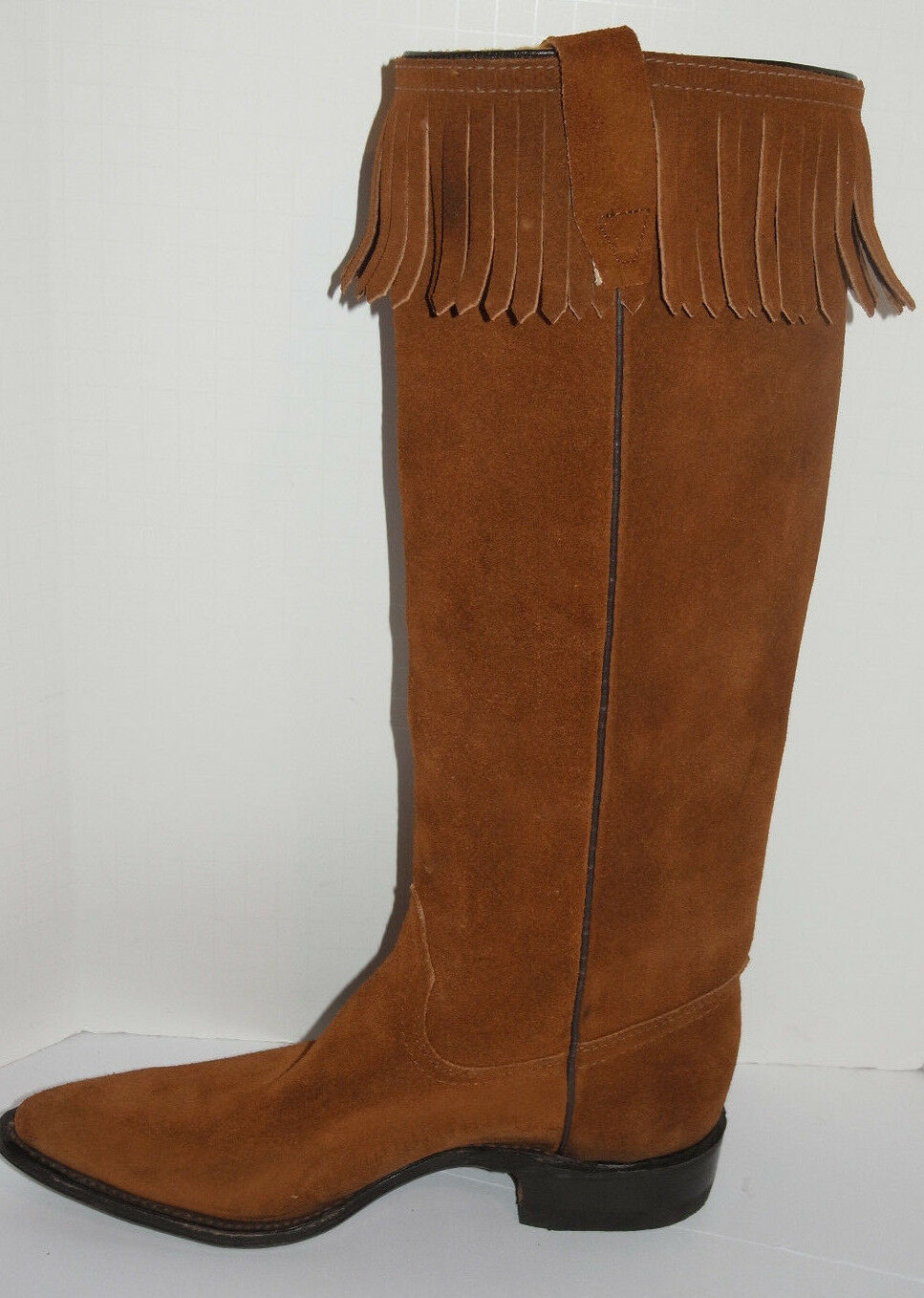 WOMEN'S UNUSED 1970s SUEDE LEATHER LEATHER LEATHER 15  BOOTS WITH FRINGES  NEW  MADE IN USA 5.5C e80060