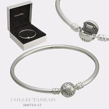 "Authentic Pandora Sterling Silver Bangle Bracelet 8.3"" Hinged Box 590713"