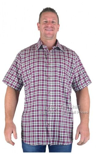 BIG Da Uomo Red Cotton Valley Gerry Manica Corta Camicia 2XL 3XL 4XL 5XL 6XL 7XL 8XL