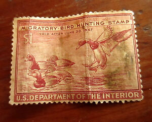 UNUSUED-1946-1-Migratory-Bird-Hunting-duck-stamp