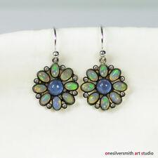 Jellyfish Hue Opal Earrings W/ Diamonds + Tanzanite with 14k white gold Earwire