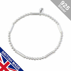 Trink Brand Tubular Sterling Silver Beaded Charm Bracelet Beads and Tubes OTjeSGFT9