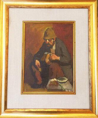 """Israeli Art - Israel - A. Adler - Resting - Oil on Canvas - 14"""" x 10.5""""  RARE"""