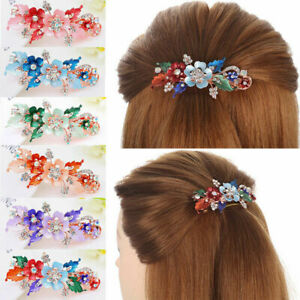 Flower-Styling-Barrettes-Headwear-Hairpin-Bridal-Hair-Clip-Resin-Crystal-Floral