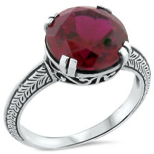 5 CT. LAB RUBY ANTIQUE ART DECO DESIGN .925 STERLING SILVER RING SIZE 8.75,#200