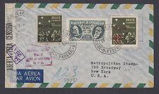Brazil Sc C45, C57, C59v on 1944 Censored Registered Air Mail Cover, Error.