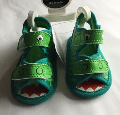 Baby Boy Green with Crocodile detail Pram Sandals