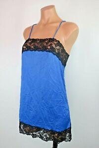 VTG-80s-90s-Dress-Slip-Nylon-Blue-Chemise-Lace-Nightgown-Lingerie-Negligee-Sz-S