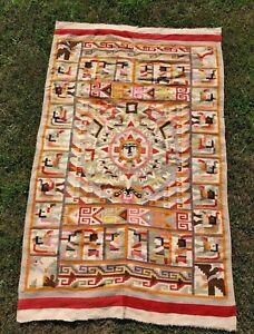 Vintage Huge Aztec Mayan Woven Wool Wall Art Calendar