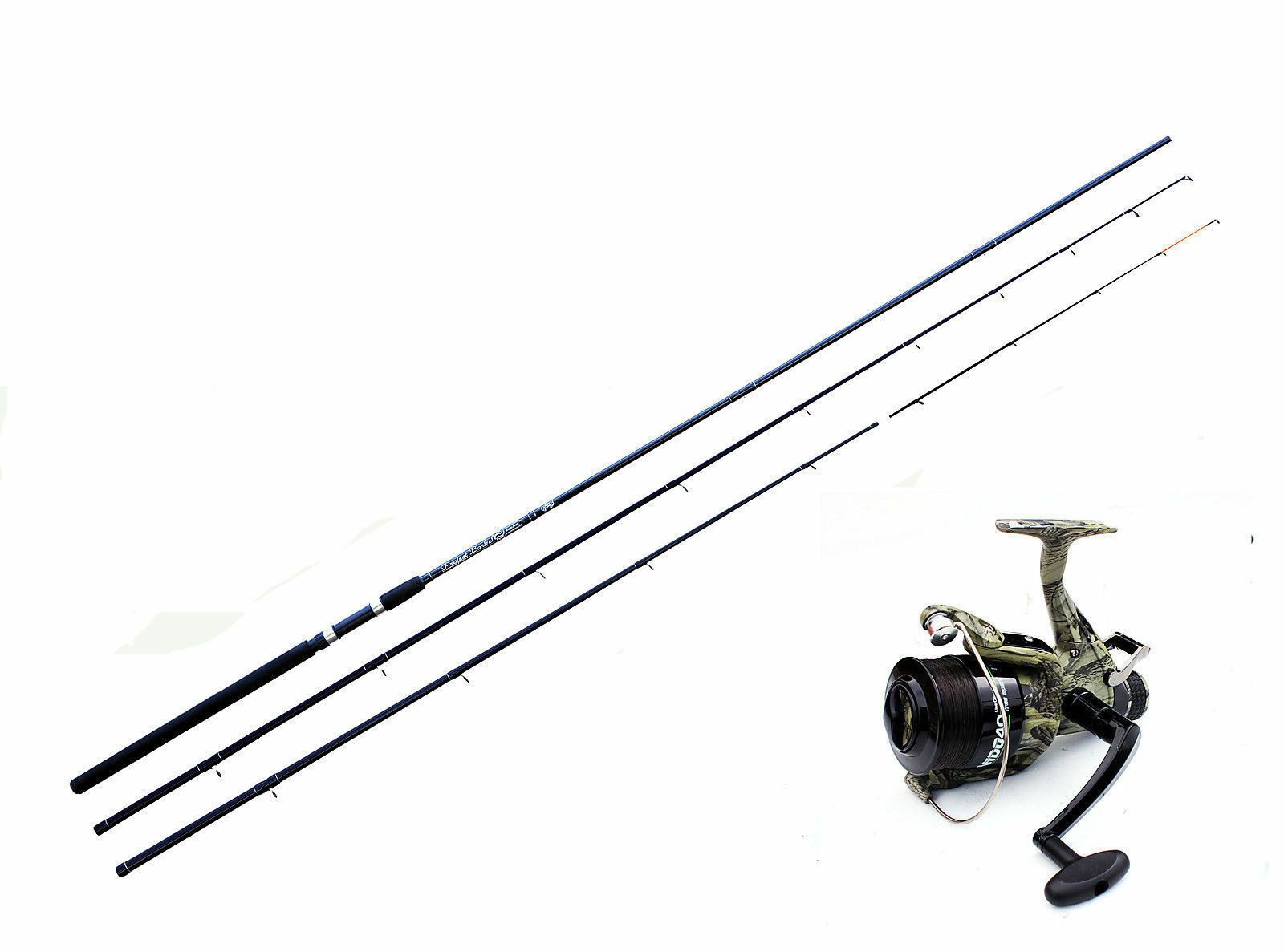 Project 11 Ft Barbel Rod Avon + Quiver Tips + Camo Freespool Reel 040 with Line