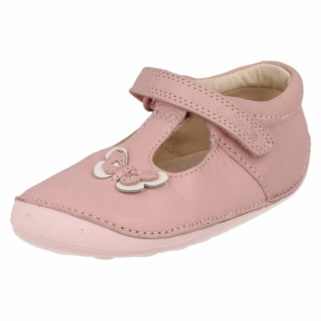Clarks Girls Little Lou Pink Leather First Shoe Cruisers F G /& H Fittings