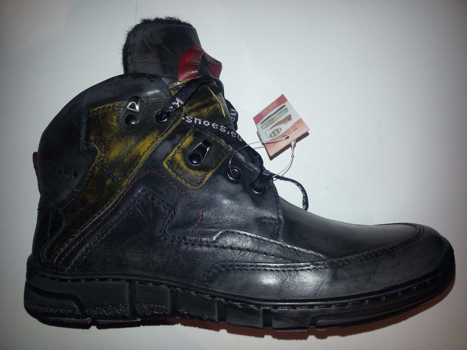 Kacper Herren Leder Boots mit Schurwolle schwarz-kombiniert Größe 41-42-46 NEU