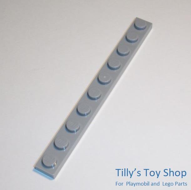 Lego - 7 Thin Tile Plate Bricks - 1x10 Stud - Medium Stone Grey - ID 4477 - NEW