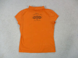 Harley-Davidson-Polo-Shirt-Womens-Large-Orange-Florida-Biker-Motorcycle-Ladies