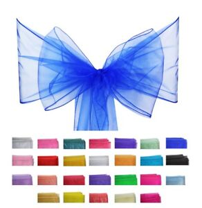 1OPCS-of-Organza-Chair-Sashes-Chair-Cover-Sash-Bows-Wedding-Party-26-Colours