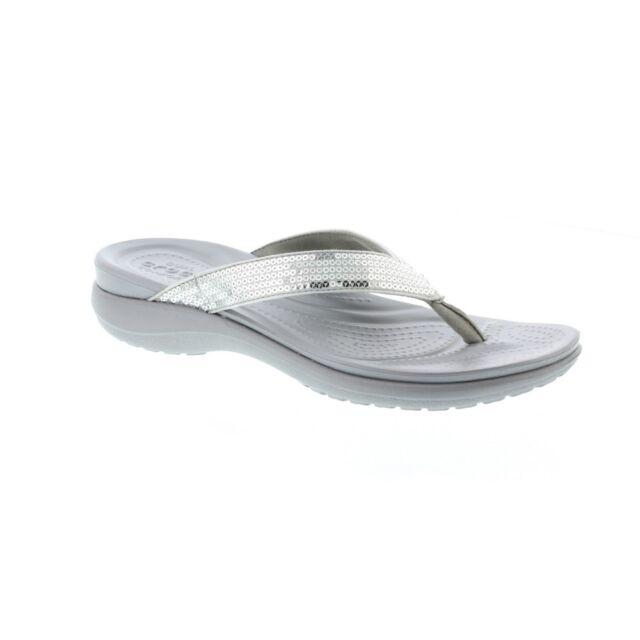 7f0ee6123140 Crocs Capri V Sequin Ladies Womens Summer Casual Toe Post Flip Flops Silver  UK W4
