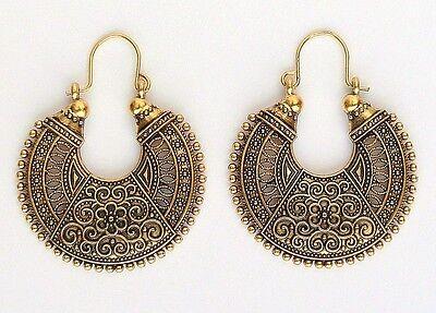 Ethnic Bollywood Antique Gold Gypsy Boho Hippie Belly dance Hippy Hoop Earrings