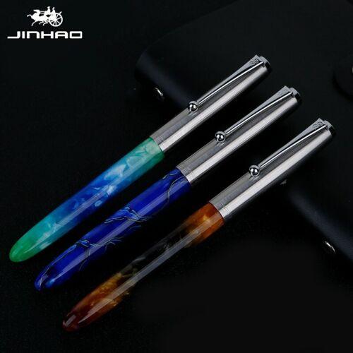 Jinhao 51A Blue Acrylic Fountain Pen Metal Cap Extra Fine Nib EF//0.38mm Writing