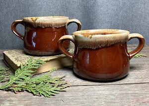 2-Vintage-McCoy-Two-Handle-Soup-Bowl-Mug-Cup-Brown-Drip-Glaze-French-Onion-Crock