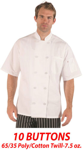 65//35 Poly//Cotton Twill-7.5 oz Chef Coat Item: 540WH 10 Buttons Short Sleeve