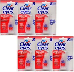 6 PACK OF CLEAR EYES  DROPS  REDNESS RELIEF 0.2 OZ.6 ML EXP(2020)UP TO 12 HOURS 678112254187