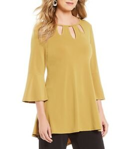 dc68cb39735 IC Collection by Connie K MUSTARD GOLD Hi Low Cut Out Tunic Top S ...