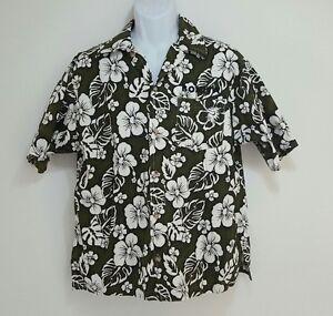 0253fc4bf Image is loading Pineapple-Hawaiian-Aloha-Green-White-Flower-Camp-Shirt-