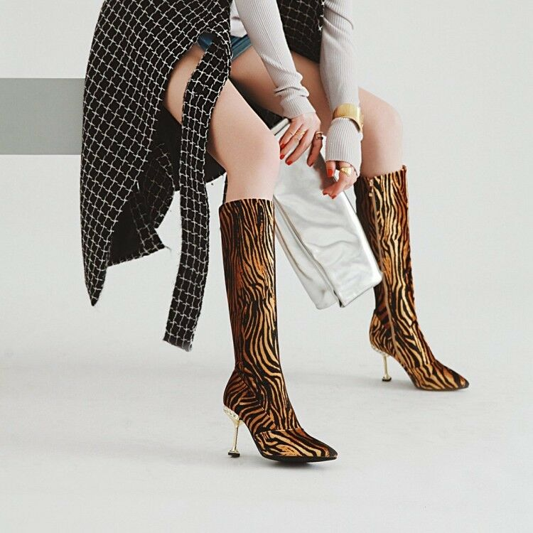 Women pointed toe slim high heels fashion mid calf boots side zip shoe EUR35-43