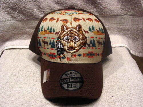WOLF INDIAN SOUTHWEST WESTERN BASEBALL CAP BROWN