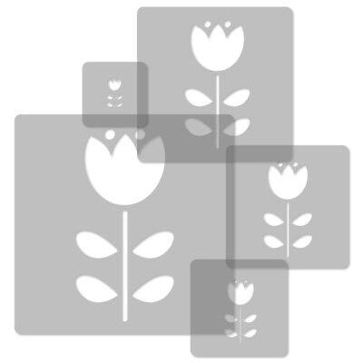 34x34cm To 9x9cm Nursery Template // Flower #1 Logical 5x Reusable Plastic Stencils