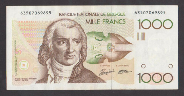 BELGIUM   1000 Francs ND1980/96   XF/AU   A Gretry  P144a  Scarce signatures