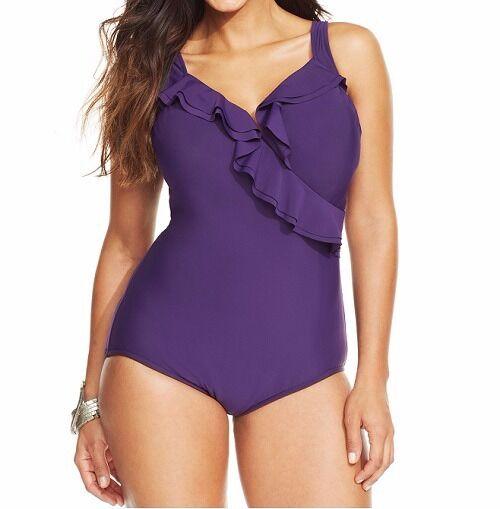 INC International Concepts One Piece Sz 22W Plum Purple Ruffle Swimsuit 470415W