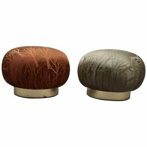 Wondrous Details About Pair Of Round Souffle Swivel Pouf Ottomans In The Manner Of Karl Springer Machost Co Dining Chair Design Ideas Machostcouk
