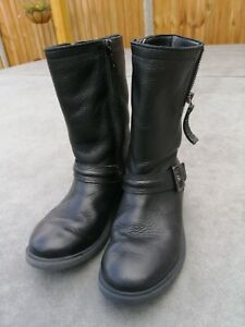 CLARKS Girls School Black Leather Boots Size 10-12.5