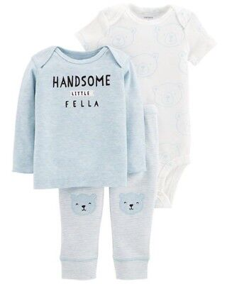 CARTER/'S 3 PIECE BABY BOYS PANTS OUTFIT WHITE BLUE HANDSOME LITTLE FELLA BEARS