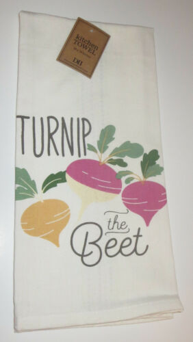 Veggie Punnies Dish Towel Cotton Give Peas A Chance Oh Kale Yeah New Radishing