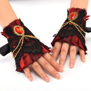 Vintage-Gothic-Victorian-Lace-Pearl-Wrist-Cuffs-Elegant-Wedding-Bridal-Glove