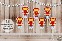 Set Of 12 Boy Iron Man Inspired Action Superhero Double Sided Cupcake Toppers