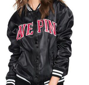 bf581110a Details about Victoria's Secret PINK jacket Satin Bomber top Size M 12