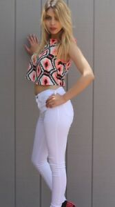 70396b644ef09 Sugar Lips NWT Pink Black White Bold Print Women s Crop Top Exposed ...
