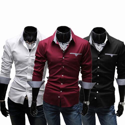 Men Luxury Slim Fit Dress Shirt Wedding Party Business Formal Long Sleeve Tops