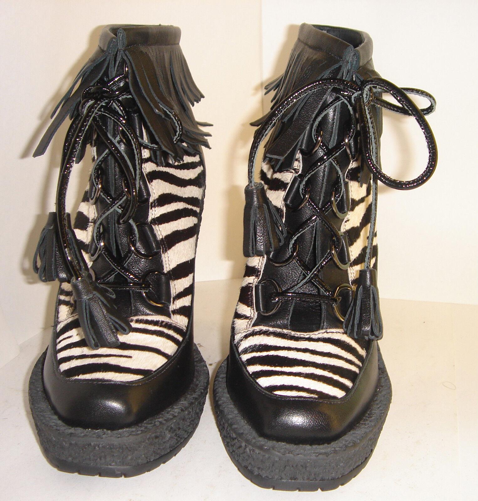 TOPSHOP BOUTIQUE EMMA COOK ZEBRA ANIMAL PRINT PLATFORM WEDGE ANKLE Stiefel Stiefel ANKLE 4 37 e87e4c