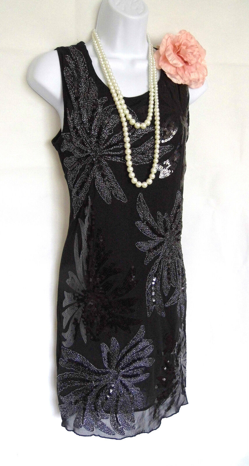 1920'S STYLE GATSBY VINTAGE LOOK CHARLESTON SEQUIN FLAPPER DRESS SIZE 12 14