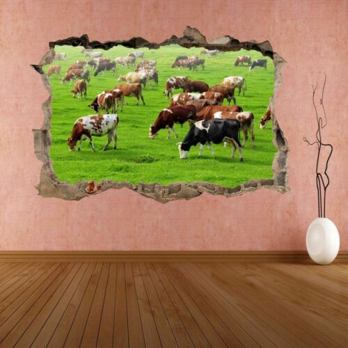 Cows GRAZING PASTURE Animal 3D Wall Sticker Murale Decal Farm Home Decor DE65