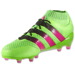 new arrival 3293b 730f6 Details about adidas Men s ACE 16.1 PrimeKnit FG AG Solar Green Shock  Pink Black AQ5151