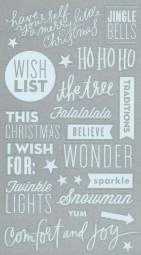 CHRISTMAS JOY TO THE WORLD ASSORTED STICKERS 19 WHITE PVC QUOTES