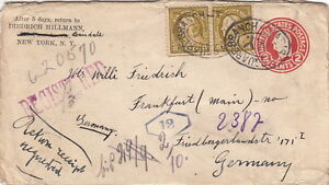 United-state-Cover-Entier-Postal-Squared-Branch-Registered-Germany-Brief