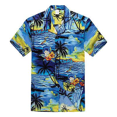NWT Aloha Shirt Cruise Tropical Luau Beach Hawaiian Party Blue Sunset Palm Tree